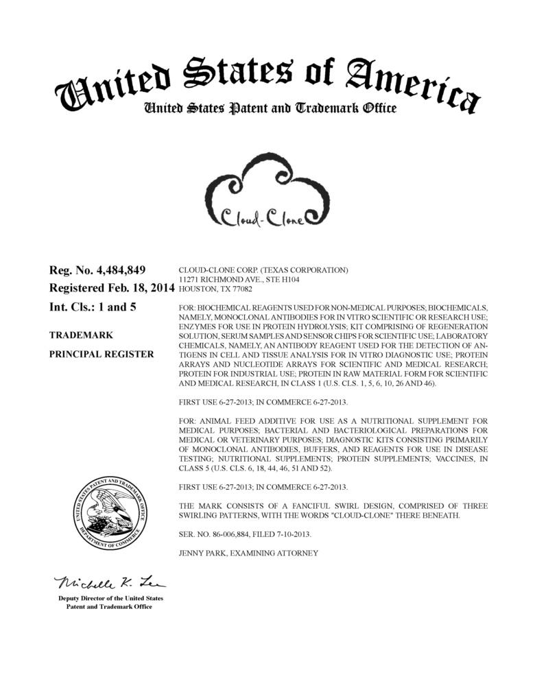 Cloud-Clone美国商标《授权保护通知书》