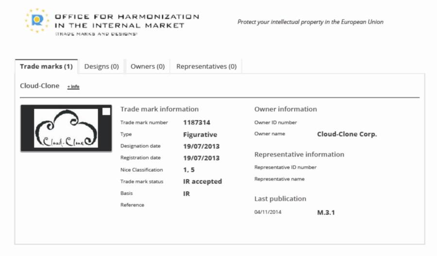 CLOUD-CLONE歐盟商標《授權保護通知書》