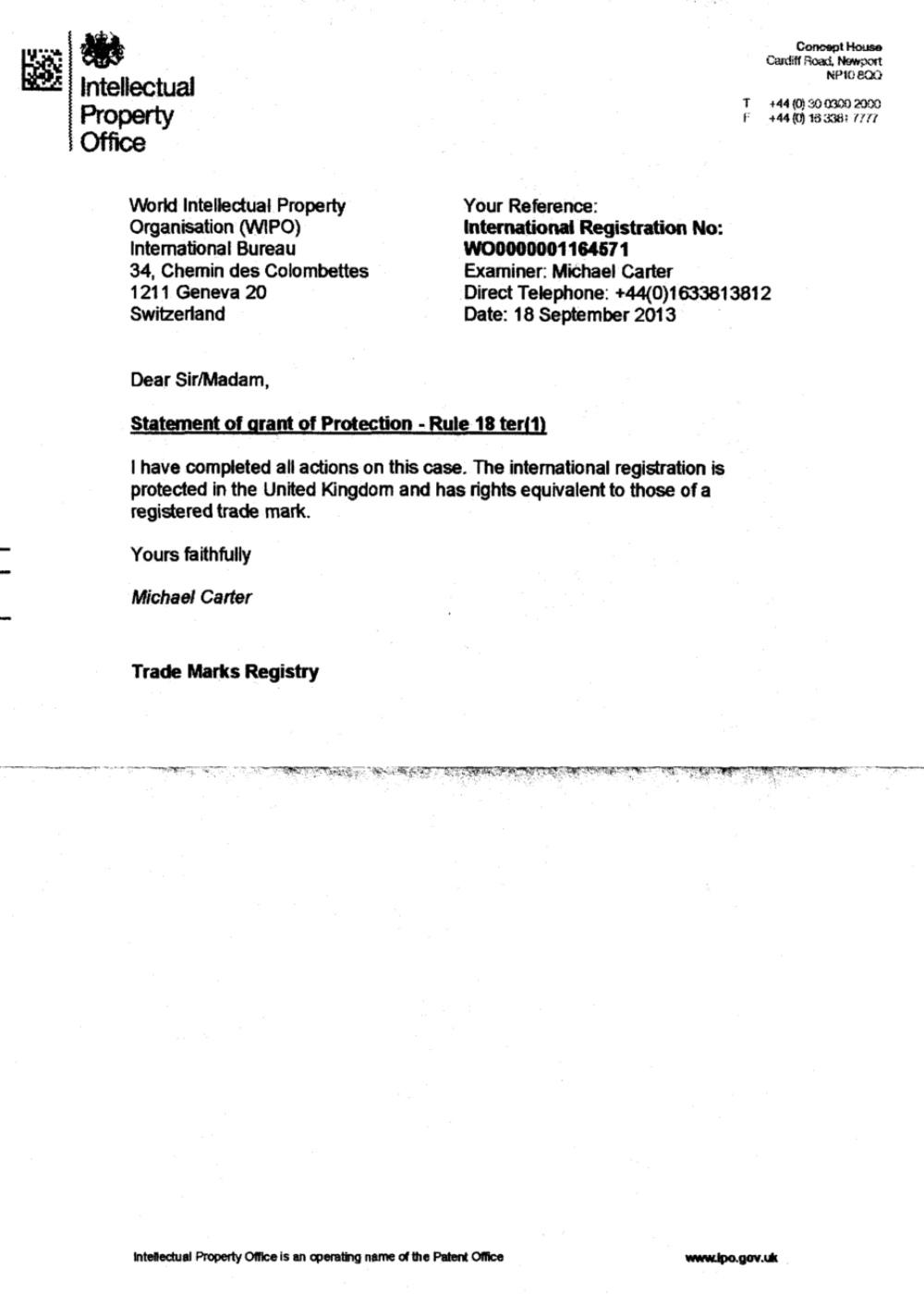 USCNK英國商標《授權保護通知書》