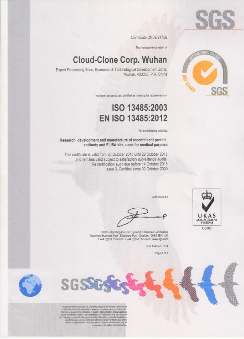 ISO13485:2003 EN ISO13485:2012证书(云克隆)